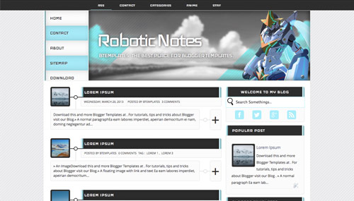 Robotic-Notes-Blogger-Template