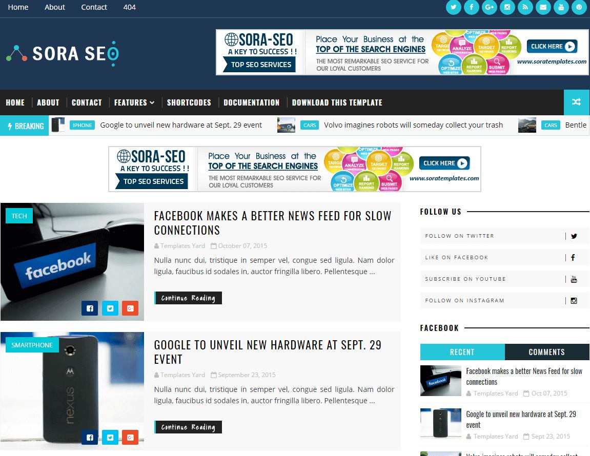Sora Seo-Plantilla Blogger optimizada para el SEO